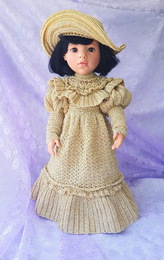 Crochet dress and hat for Gotz dolls - For 18 American Girl Dolls  American Girl Dolls and Gotz dolls clothes. Crochet dress and hat.  Original and exclusive dress and hat.  This dress and hat is made of viscose yarn.   Care Instructions: hand wash in lukewarm water only. Dolls are not for sale.  Thank you for looking