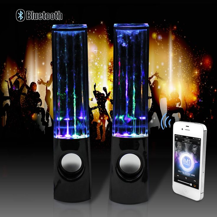 abcGOODefg® Wireless Bluetooth 3.0 Music Fountain Dancing Water Speakers For MP3 MP4 iPhone (Black). Excellent and romantic lighting effect. High quality sound and non-crack-noise function. Equipped with built-in spouting spring, which will go up and down following the music rhythm. Left and right stereo sound. USB port power supply.