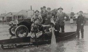 WEATHER: Boating on San Fernando Street, San Jose, CA, c. 1911, History San Jose Collection