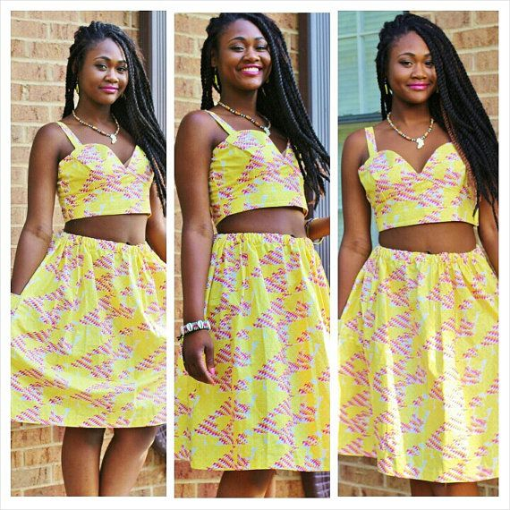 Women's crop top and skirt set by TeakAfrique