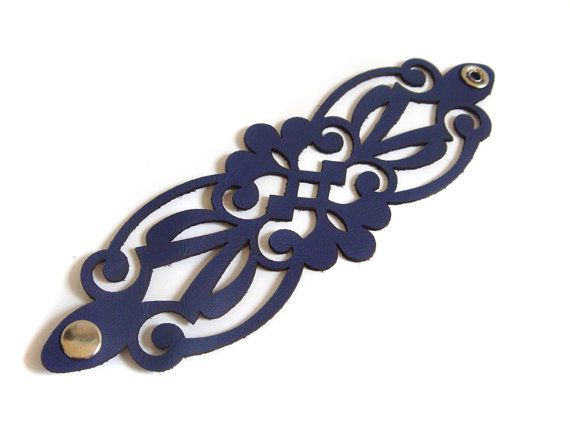 Royal blue filigree leather cuff bracelet - custom made to your size EmilydeMolly - laser cut leather jewelry