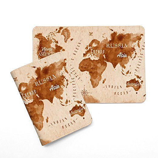 Amazon.com | Vintage World Map Leather Passport Cover - Vintage Passport Wallet - Travel Accessory Gift - Travel Wallet for Women and Men _Mishkaa | Travel Accessories #travelaccessories