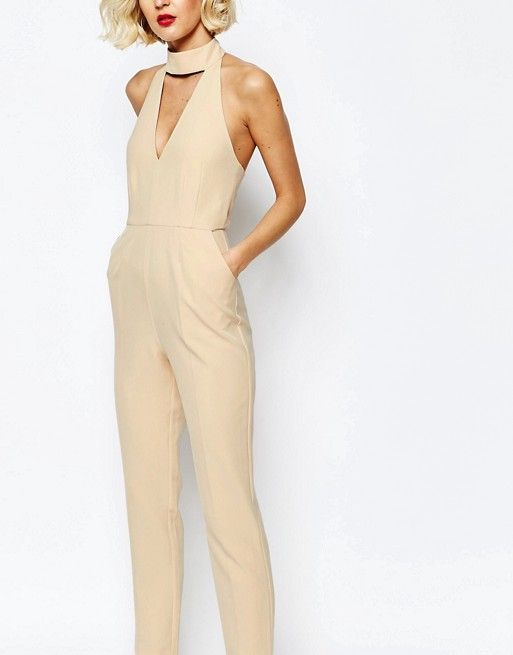 Lavish Alice | Lavish Alice Keyhole High Neck Deep Plunge Jumpsuit
