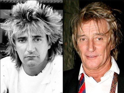 Aging rock stars : Rod Stewart his hair doesn't stay up like it used to.