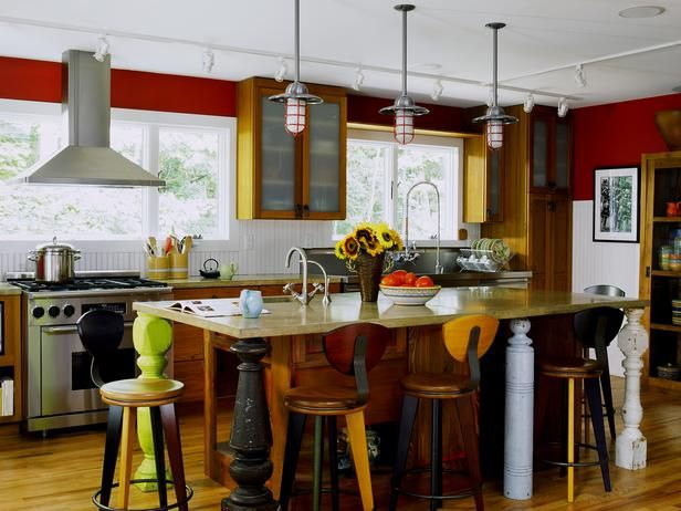 8 Red Kitchens To Die For: Kitchens Design, Contemporary Kitchens, Red Wall, Gardens Design Ideas, Islands Lights, Kitchens Islands, Red Kitchens, Bar Stools, Eclectic Kitchens