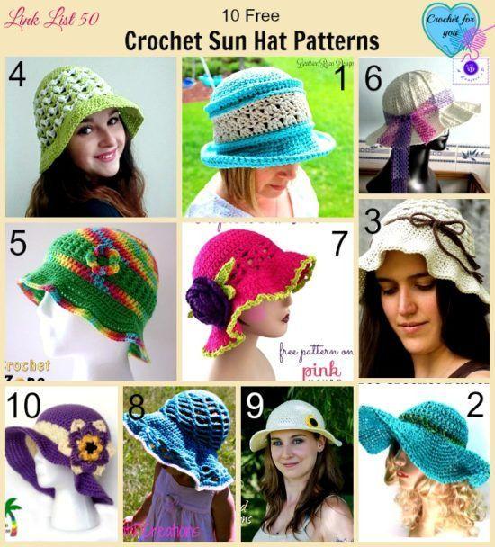 20 Wonderful Free Crochet Sun Hat Patterns | CrochetStreet.com  http://crochetstreet.com/2016/07/20-wonderful-free-crochet-sun-hat-patterns/