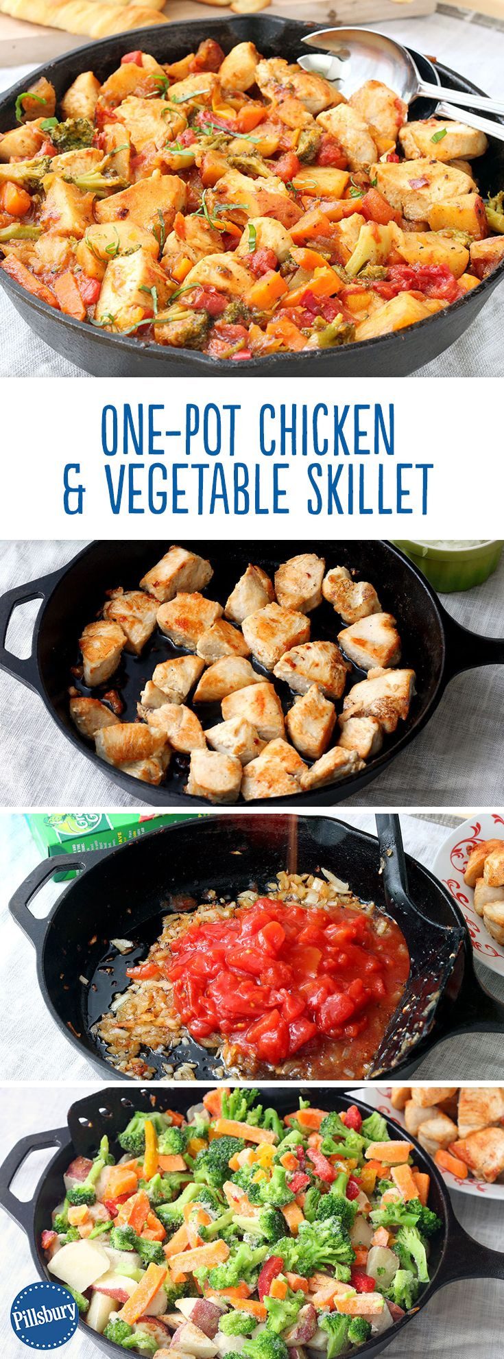 Not a fan of doing the dishes? You'll be saved the headache with this one-dish Chicken and Vegetable Skillet! Frozen veggies are the key to this flavor-packed dinner.