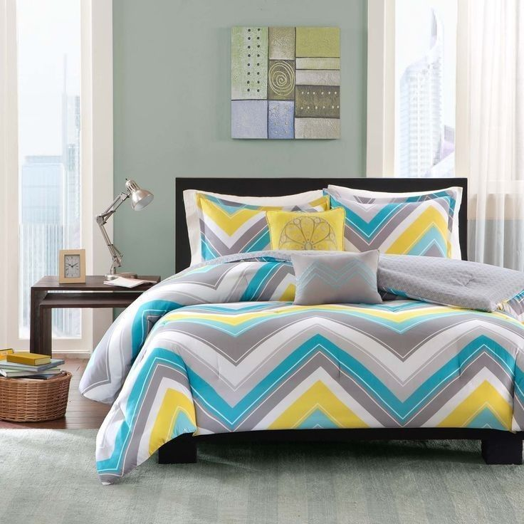 Sporty blue teal yellow grey white chevron stripe for Blue white and silver bedroom ideas