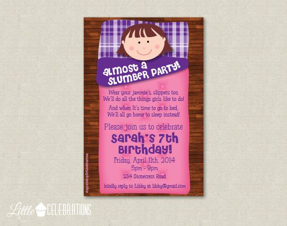 The 25 best Slumber party invitations ideas – Sleepover Birthday Party Invitations