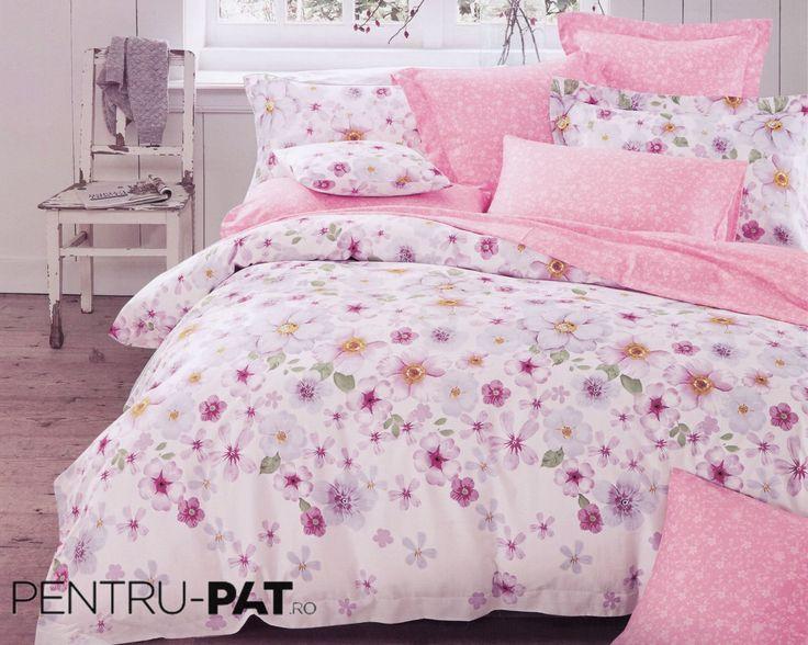 Lenjerie de pat 100% bambus Pucioasa roz cu petunii