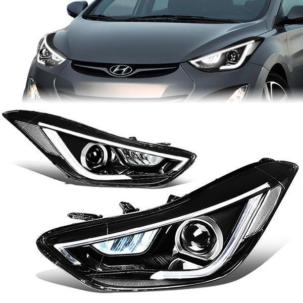 11 13 Hyundai Elantra Sedan Led Drl Turn Signal Projector Headlights Black Housing Hyundai Elantra Elantra Hyundai