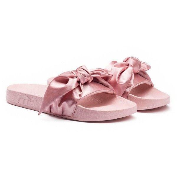 Fenty Puma x Rihanna Women's Satin Bandana Pool Slide Sandals (€85) ❤ liked on Polyvore featuring shoes, sandals, pink, puma sandals, satin sandals, satin shoes, puma shoes and slide sandals