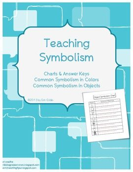 Teaching Symbolism In Literature With Objects \u0026 Colors Charts W Word Recognition Worksheets Teaching Symbolism In Literature With Objects \u0026 Colors Charts W Answer Keys Middle School English Pinterest Teaching, Literature And Teaching Poetry