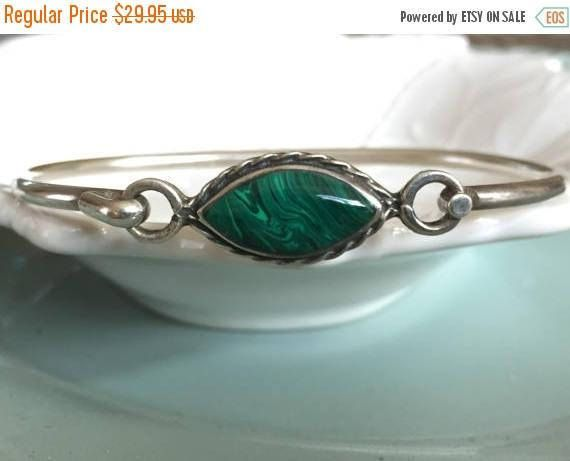 25% OFF SALE Vintage Sterling Silver Malachite Bracelet Hand