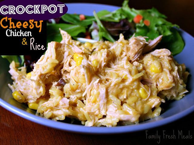 "Need a basic recipe in your crockpot arsenal that will make ""happy plates""? This Crockpot Cheesy Chicken & Rice recipe wins everytime."