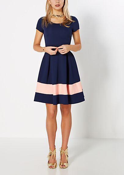 Chain Necklace Striped Skater Dress | rue21