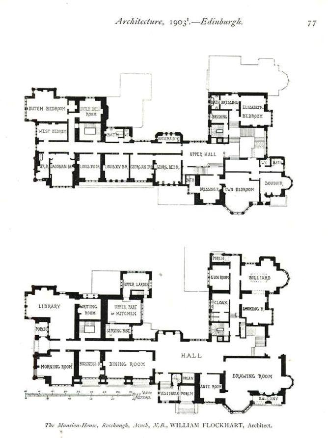 1903 Floorplans Of Rosehaugh House Scotland Castle Floor Plan Floor Plans English Country House Plans