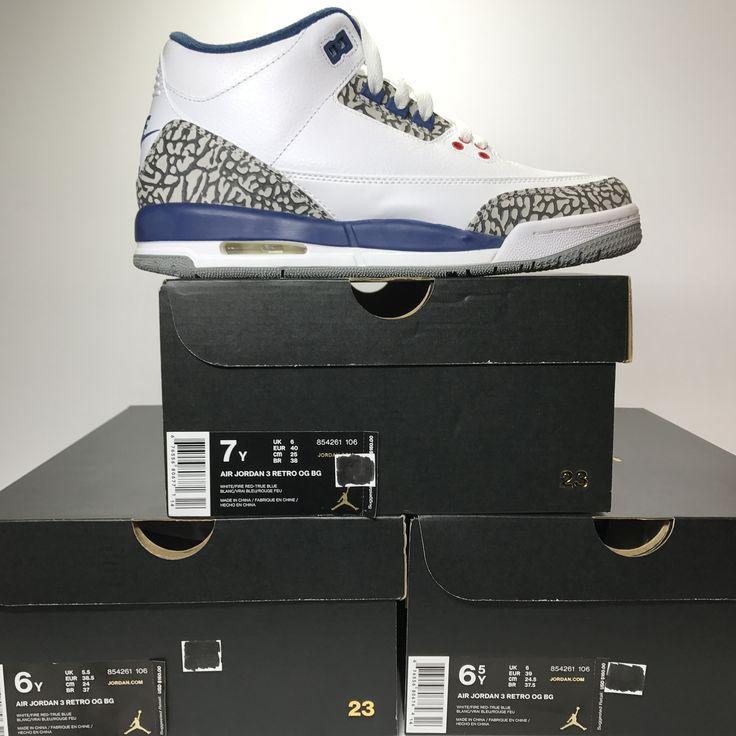 DS Nike Air Jordan 3 III Retro OG BG True Blue Size 4/Size 5/5.5/Size 6/6.5/Size 7