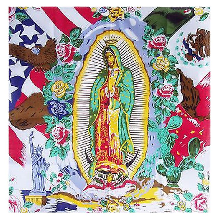 Our Lady Mother Maria Guadalupe Garcia Zavala Mexican American Flag Bandana 100% Cotton Patron Saint