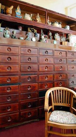 pharmacy drawers at Chinese Medicine Works in San Francisco