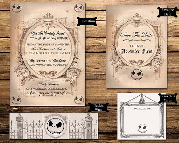 Nightmare Before Christmas Halloween Party Printable Invitation Suite
