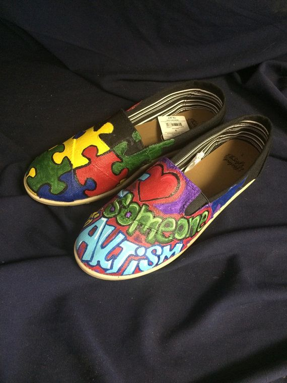 Autism awareness custom painted shoes by Pictureworth1000word