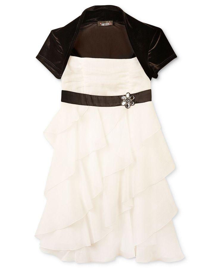 BCX Girls Dress, Girls Corkscrew Ruffle Shrug Dress - Kids Girls 7-16 - Macy's