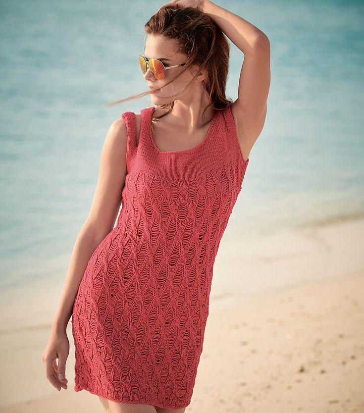 Платье на раздвоенных бретелях - схема вязания спицами. Вяжем Платья на…