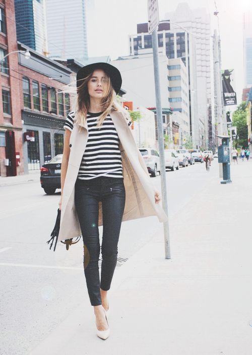 Vest, stripes, heels
