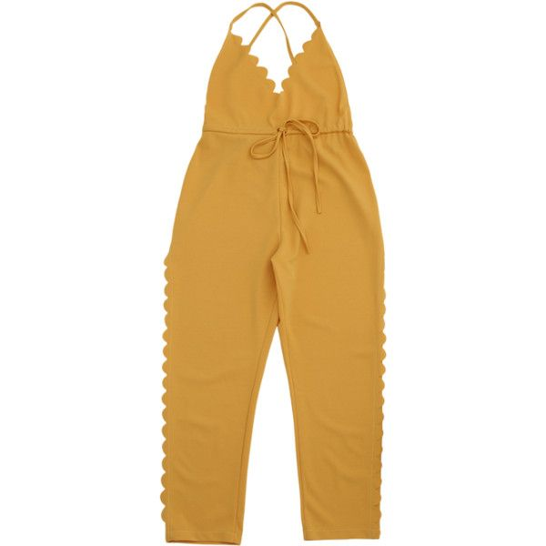 Scalloped Straight Cut Suspender Pants Yellow ($19) ❤ liked on Polyvore featuring pants, brown pants, brown trousers, straight pants, yellow trousers and yellow pants