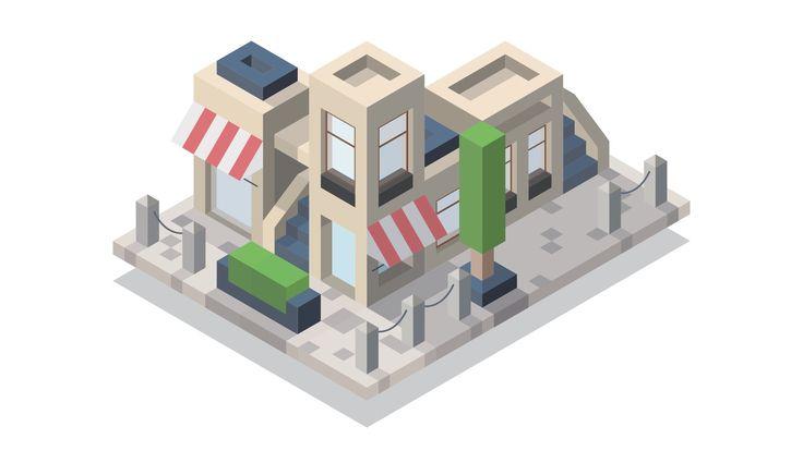 Isometric Street #1 Illustration - Adobe Illustrator [Speedart]