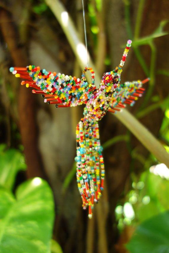 Ayahuasca Visions HUMMINGBIRD BEADED 3D BIRD Ornament Seed Beads Glass Multicolored Kaleidoscope Fractal Explosion Guardian Spirit Animal