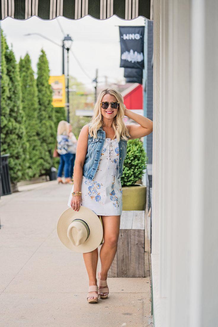 Spring Must-Haves: Floral Lace Up Dress & Denim Vest | Edit by Lauren