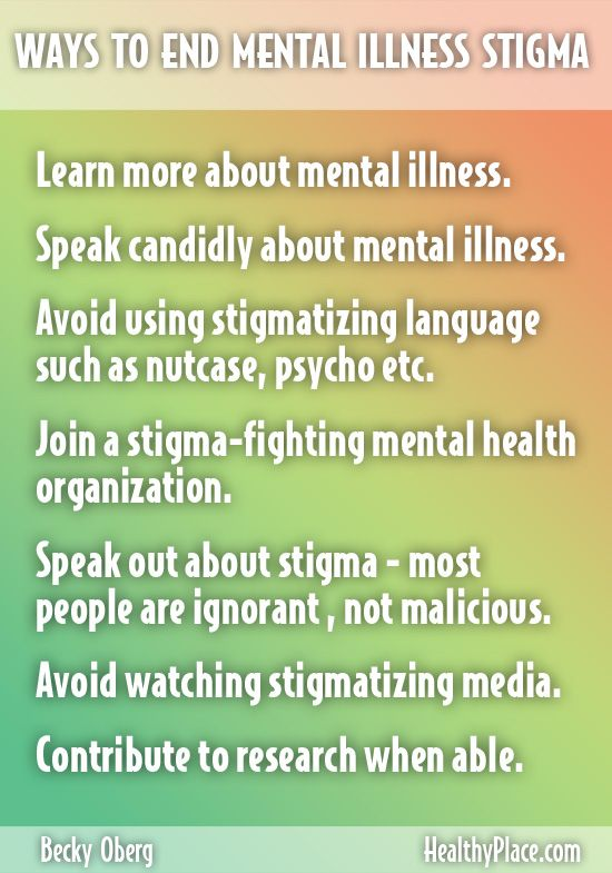 """Mental health stigma is a real problem but reducing mental health stigma is not impossible. Learn the top 10 ways to reduce mental health stigma"". Learn more in HealthyPlace."" www.HealthyPlace.com"
