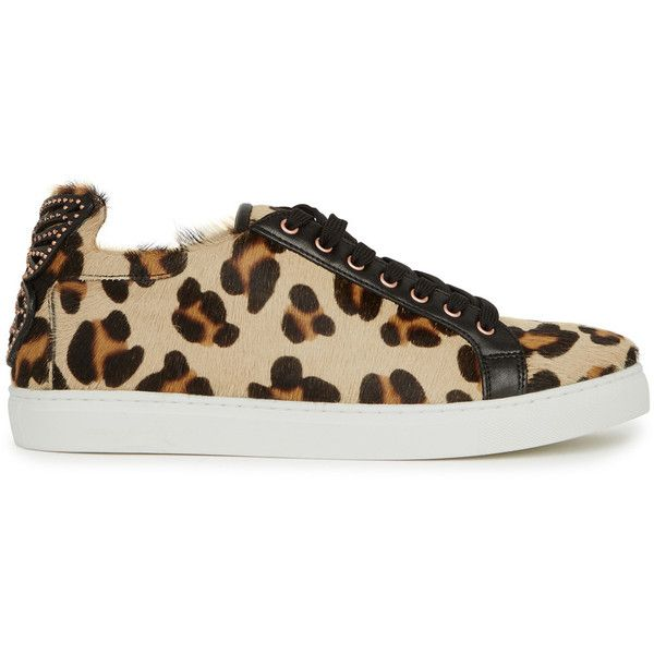 Sophia Webster Bibi Leopard-print Trainers - Size 3 (1,690 SAR) ❤ liked on Polyvore featuring shoes, sneakers, leopard print sneakers, leopard print shoes, leather sneakers, leopard sneakers and sophia webster shoes