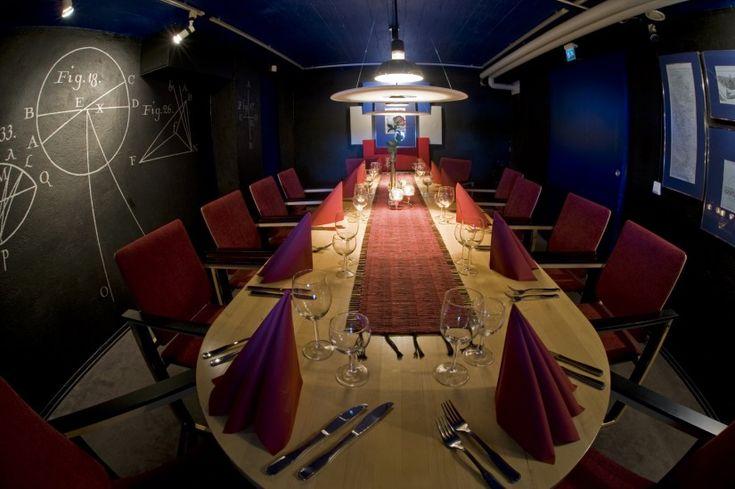 Cabinet dedicated to explorer Maupertuis in Restaurant Granni in Pello's Vihreä Pysäkki Shopping Centre