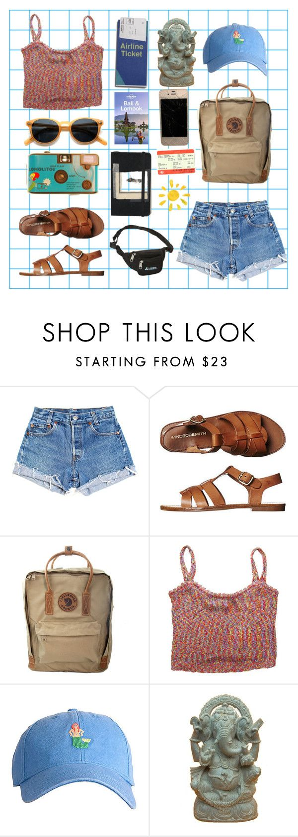 """""""Art Hoe Goes to Bali"""" by pradamuse ❤ liked on Polyvore featuring Levi's, Windsor Smith, Fjällräven, Harding-Lane, Lonely Planet, Moleskine, Cheap Monday and Everest"""