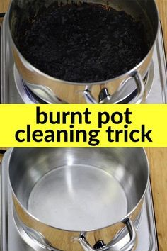 Fill pot with water just to cover burnt part then quarter up 2 lemons. Bring to rolling boil, let cool. Dump out dirty water and scrub what's left. pot will look new again.