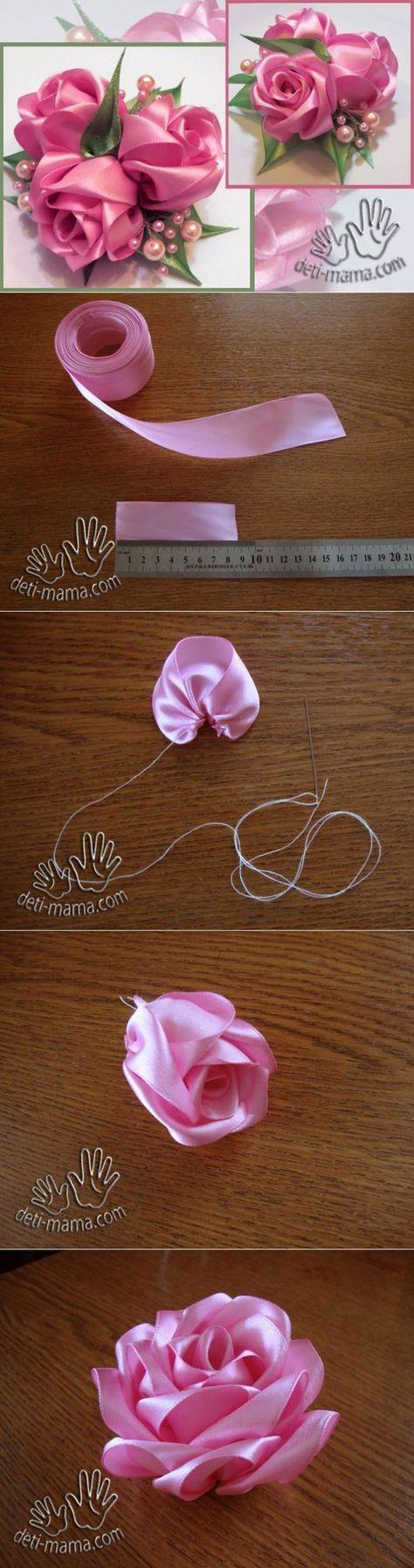 Розочки из ткани. МК бутонная роза.   Журнал для мам и детей