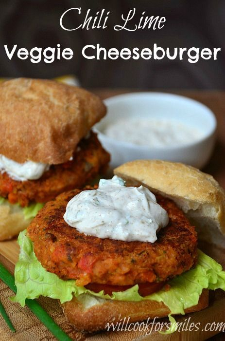 Chili Lime Veggie Burger | from willcookforsmiles.comLimes Veggies, Veggies Burgers, Amazing Sandwiches, Vegetarian Burger Recipe, Vegetarian Recipe, Healthy Recipe, Vegetarian Burgers, Chilis Limes, Vegetarian Sandwiches Recipe