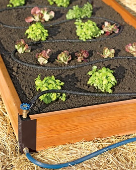 Aquacorner raised bed soaker system...genius! This is what I'll have to do this year when I set up my square foot garden!