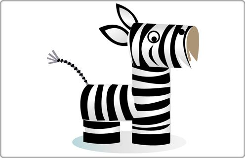 Funny Zebra - Cardboard Tube Craft