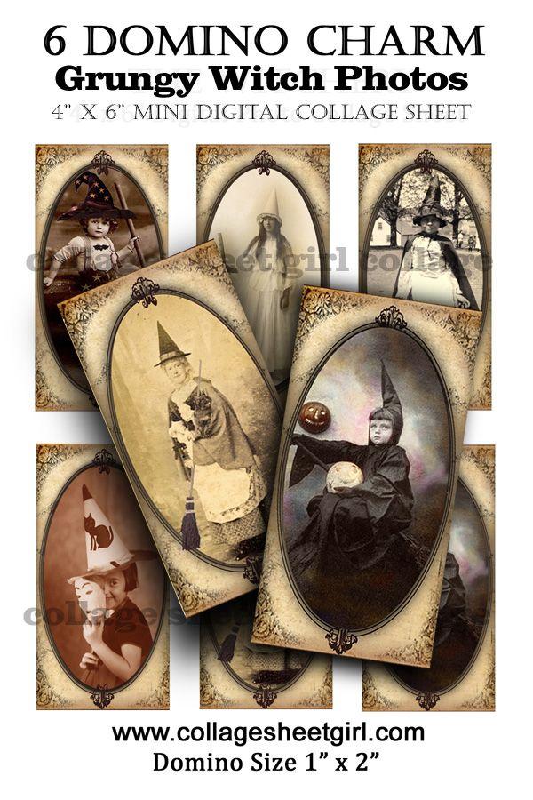 How to make domino charm pendants with vintage halloween photos: Vintage Halloween, Vintage Paper, Collage Sheet, Halloween Photo, Domino Charms, Printables Vintage, Halloween Pendants, Domino Pendants, Charms Pendants