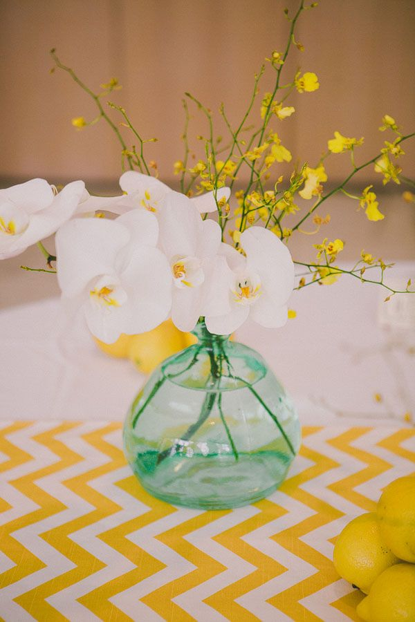 white orchids with a yellow chevron runner // photo by DaveRichards.net