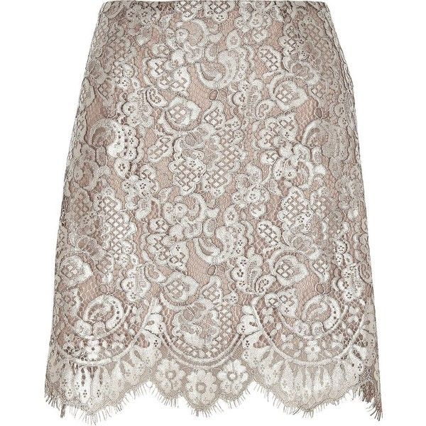 River Island Silver metallic lace mini skirt ($70) ❤ liked on Polyvore featuring skirts, mini skirts, silver, women, floral mini skirt, brown skirt, scalloped skirt, short lace skirt and short mini skirts