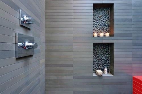 Beach rock niches in the shower: Bathroom Design, Modern Bathroom, Shower Niche, Rivers Rocks, Tile Shower, Pebble Tile, Grey Tile, Shower Tile, Bathroom Ideas