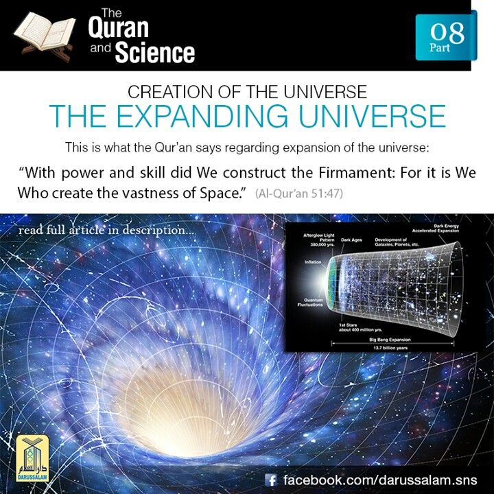 "The Qur'an and Science: 08. The Expanding Universe: In 1925, American astronomer Edwin Hubble, provided observational evidence that all galaxies are moving away from one another, which implies that the universe is expanding. The expansion of the universe is now an established scientific fact. This is what the Qur'an says regarding the nature of the universe:وَالسَّمَآءَ بَنَيْنٰهَا بِاَيْىدٍ وَّاِنَّا لَمُوْسِعُوْنَ""With power and skill did We construct the Firmament: For it is We Who create…"