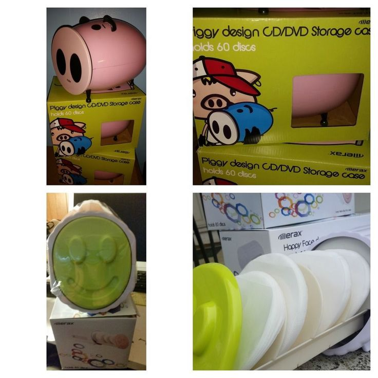 Fun gifts CD/DVD Storage Case New in Box Pink Pig or Green Smiley Face design #Merax