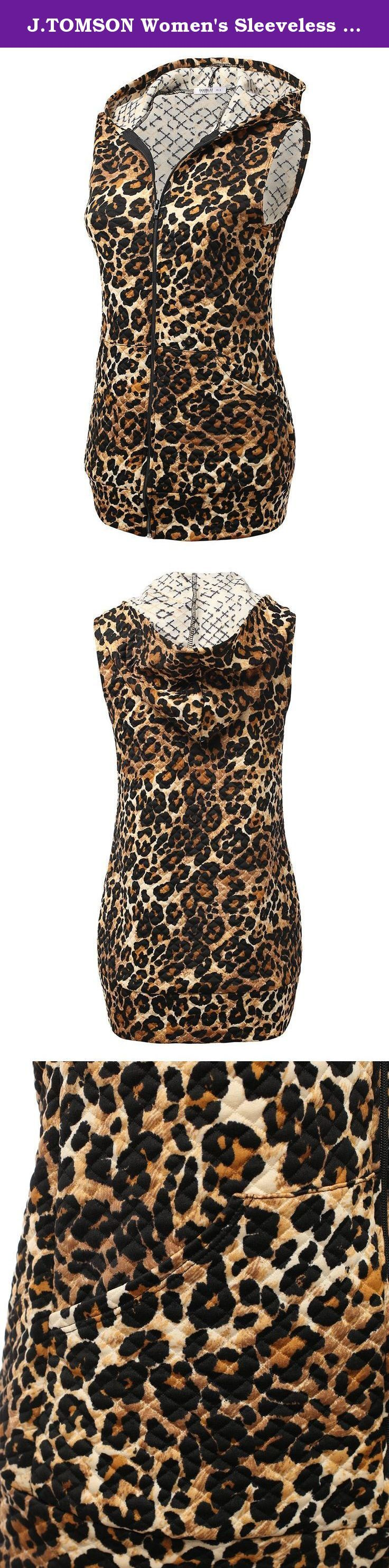 J.TOMSON Women's Sleeveless Animal Print & Solid Hooded Zip Up Vest Jacket BROWNLEOPARD 3XL. J.TOMSON Women's Sleeveless Animal Print & Solid Hooded Zip Up Vest Jacket is a fashionable match for any outfit.