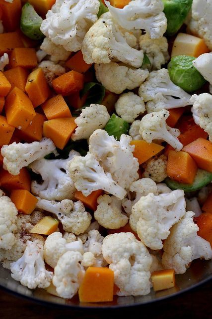 Roasted Butternut Squash, Brussels Sprout and Cauliflower Salad with ...